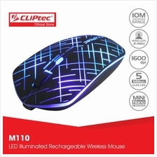 CLiPtec 2.4Ghz 1600dpi Illuminated Rechargeable Wireless Mouse M110)