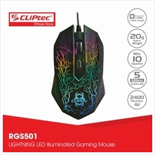 CLiPtec STORM 2400dpi Illuminated Gaming Mouse-RGS501 (Black))