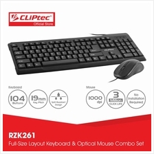 CLiPtec OFIZ-COMBO USB Keyboard and Mouse Combo Set-RZK261 (Black))