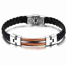 YOUNIQ Titanium Steel Line Genuine Leather Bracelet for Rosegold Men