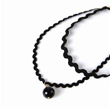 YOUNIQ-Basic Korean Double Wavy Pearl Black Choker