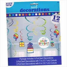 Swirl Decoration Birthday Fever Fun 12pcs Value Pack Amscan