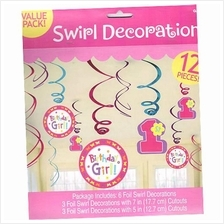Swirl Decorations 1st Birthday Girl 12 pcs Value Pack Amscan