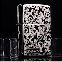 Black Ice Artistic Flower Zippo Lighter