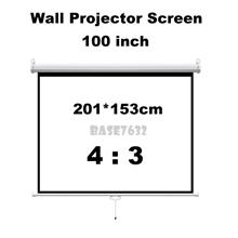 100 inch 2*1.5m / 7' x 5' Wall Hand Pull Down Projector Screen 4:3