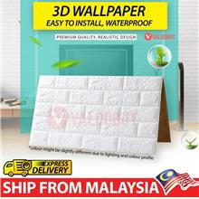 12pcs x 3D Wallpaper 70x77cm Brick Design WHITE (MALAYSIA READY STOCK)