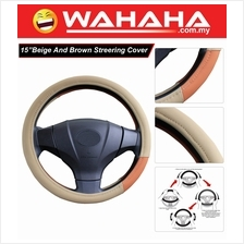 Brand New 15 Inches Steering Wheel 71345 Beige and Brown Cover