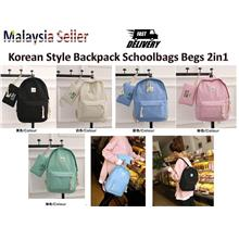 2in1 With Pocket New Leaf Women Bags Set Korean Style Backpack