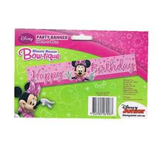 Minnie Mouse Bowtique Happy Birthday Pink Party Banner 150x30cm 069087
