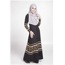 MODERN LONG SLEEVE GOLD CURVE JUBAH DRESS (BLACK d27828426b
