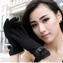 PAIR OF ELEGANT BOWKNOT AND LACE DECORATION TOUCH SCREEN GLOVES FOR WOMEN (BLA