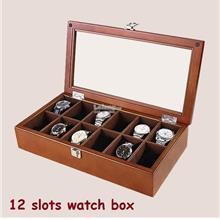 Wooden Watch Box, 12 Slots Watches Collection Boxes (Birthday Present)