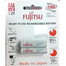 FUJITSU AAA 2PCS 1.2V 750MAH RECHARGEABLE BATTERY