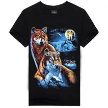 Plus Size 3D Printing Short-Sleeved Round Neck Men's T- wolf2 (T)