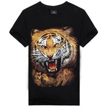 Plus Size 3D Printing Short-Sleeved Round Neck Men's T- Tiger (T)