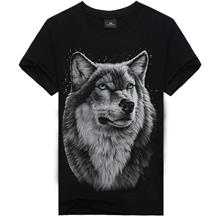 Plus Size 3D Printing Short-Sleeved Round Neck Men's T- wolf (T)