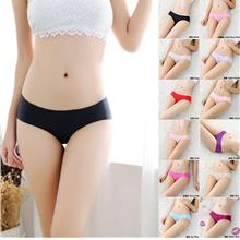 Women Candy Color Ladies Low Waist Ice Silk Seamless Panties RS013