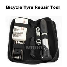 Bicycle Bike Tyre Tire Multi Repair Tool Set Kit Air Pump Pouch