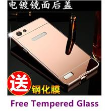 OPPO Neo 7 Neo7 A33 Metal Frame Back Case Cover Casing +Tempered Glass
