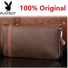 100% Playboy Cow Leather Man's Wallet Money Clips Business Hand Bag