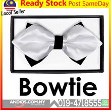 Diamond Bow Tie Wedding Double Layer Necktie Man Men White
