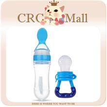 2 in 1 Silicone Baby Squeeze Spoon Food Feeder Bottle+Pacifier - Blue