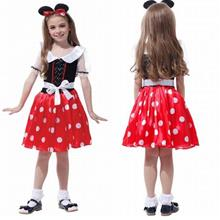 Minnie Mouse Kids Girls Party Fancy Dress with Hairband Halloween Cost