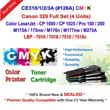 HP 126A CE310A CE311A CE312A CE313A Color Toner Full Set (4 Units)