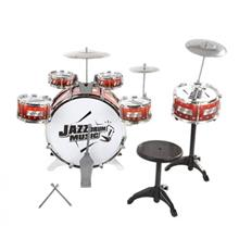 KIDS DRUMS INSTRUMENT TOY WITH CYMBALS STOOL (Orange Red)