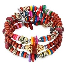 FASHIONABLE BOHEMIAN COLORFUL BEADS WOMEN WRAP BRACELET (BROWN)