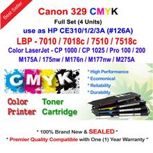 Canon CRG 329 Color Toner LBP 7018 7518 Full Set (4 Units)