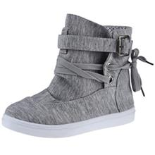 CASUAL PURE COLOR LACE UP LADIES DUNK HIGH CANVAS SHOES (GRAY)