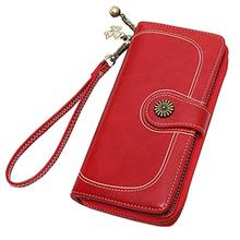 [From USA]Women Wallets Clutches with Wrist Strap Luxury PU Leather Phone Bag