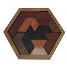 Wooden Hexagon Jigsaw Puzzle Board Educational Toy (BROWN)