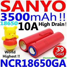 SANYO 3500mAh NCR18650GA High Drain 18650 Li-Ion Battery Panasonic LG