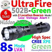 UltraFire 502B Green Hunting (Cree XPE 8s+LVA) LED Torch FlashLight