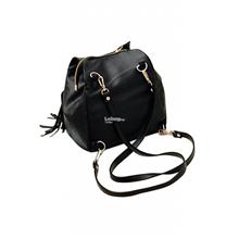 d7ba26004d24 2 WAY PU LEATHER BACKPACK OR SLING BAG JN739 - BLACK