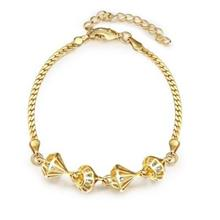 B015-A GRACEFUL INLAID WHITE ZIRCON DIFFERENT TYPES NEW GIFT BRACELET (GOLDEN)