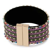 FASHION WIDE-EDGED WITH RHINESTONE BRACELET FOR GIRLS (PURPLE)