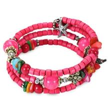 BOHEMIAN WOODEN BEAD DECORATION WOMEN WRAP BRACELET (PAPAYA)