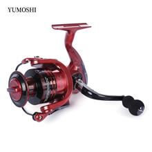 YUMOSHI 13 + 1BB METAL SPINNING REEL FISHING TACKLE WITH FOLDABLE HANDLE (RED,
