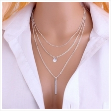 Fashion Bead Chain Sequins Metal Bar Multi-Layer Necklace (SILVER)