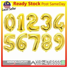 16inch Gold Number Balloon Birthday Party Event Belon Hari Jadi Umur