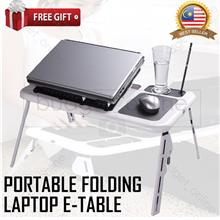 Portable Folding Adjustable E-Table Laptop Table Bed USB Cooling Fan