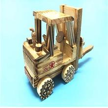 Wooden Forklift Car Craft Bulldozer Truck Excavator Crane Child Toys