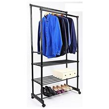 255 Heavy Duty Double Pole Garment Rack With Shelf