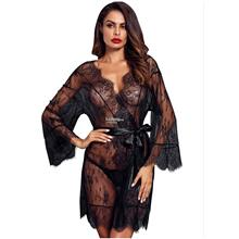 66c1d5e9e7 V-neck lace long-sleeved transparent lace nightgown female thin sectio