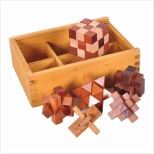 Luban Lock Wooden Puzzle Toy for Kids 6PCS (CARAMEL)