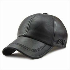 a7f378f03bb Autumn   Winter PU Leather Outdoors Leisure Baseball Cap for Men (BLACK)