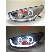 Hyundai Tucson IX35 '10-12 CCFL Ring Projector Head Lamp DRL Black
